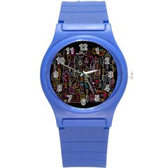 Features Illustration Round Plastic Sport Watch (s) by Mariart