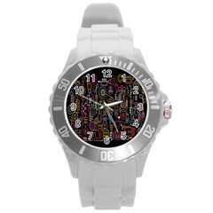 Features Illustration Round Plastic Sport Watch (l) by Mariart