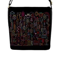 Features Illustration Flap Messenger Bag (l)  by Mariart