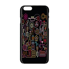 Features Illustration Apple Iphone 6/6s Black Enamel Case by Mariart