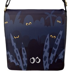 Ghost Halloween Eye Night Sinister Flap Messenger Bag (s) by Mariart