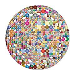Circle Rainbow Polka Dots Ornament (round Filigree)