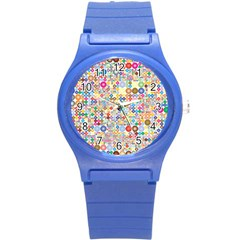 Circle Rainbow Polka Dots Round Plastic Sport Watch (s) by Mariart