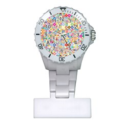 Circle Rainbow Polka Dots Plastic Nurses Watch by Mariart