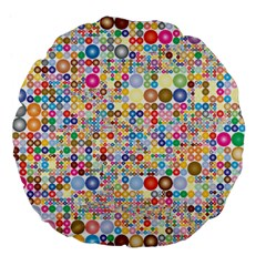 Circle Rainbow Polka Dots Large 18  Premium Flano Round Cushions by Mariart
