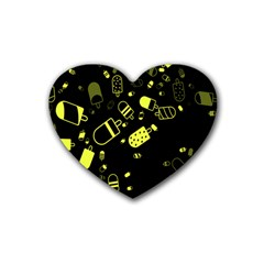 Ice Cream Cool Yellow Rubber Coaster (heart)  by Mariart