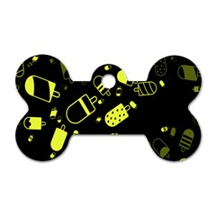 Ice Cream Cool Yellow Dog Tag Bone (two Sides) by Mariart