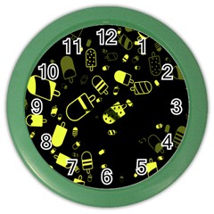 Ice Cream Cool Yellow Color Wall Clocks