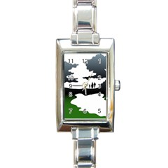 Landscape Silhouette Clipart Kid Abstract Family Natural Green White Rectangle Italian Charm Watch by Mariart