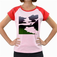 Landscape Silhouette Clipart Kid Abstract Family Natural Green White Women s Cap Sleeve T Shirt by Mariart