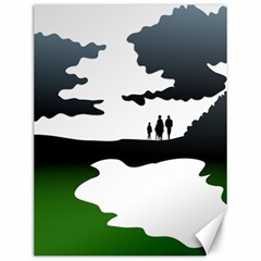 Landscape Silhouette Clipart Kid Abstract Family Natural Green White Canvas 12  X 16   by Mariart