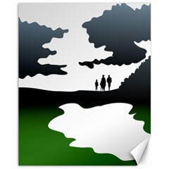 Landscape Silhouette Clipart Kid Abstract Family Natural Green White Canvas 11  X 14   by Mariart