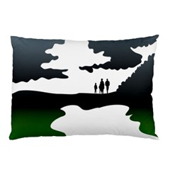 Landscape Silhouette Clipart Kid Abstract Family Natural Green White Pillow Case by Mariart