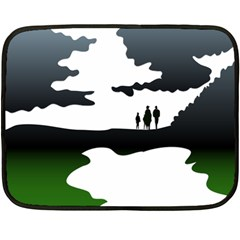 Landscape Silhouette Clipart Kid Abstract Family Natural Green White Double Sided Fleece Blanket (mini)  by Mariart