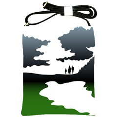 Landscape Silhouette Clipart Kid Abstract Family Natural Green White Shoulder Sling Bags by Mariart