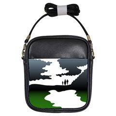 Landscape Silhouette Clipart Kid Abstract Family Natural Green White Girls Sling Bags by Mariart