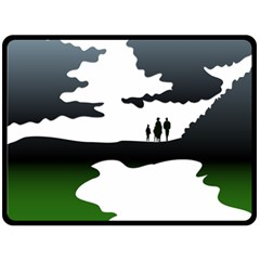 Landscape Silhouette Clipart Kid Abstract Family Natural Green White Fleece Blanket (large)  by Mariart