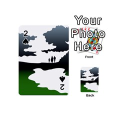 Landscape Silhouette Clipart Kid Abstract Family Natural Green White Playing Cards 54 (mini)  by Mariart