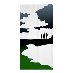Landscape Silhouette Clipart Kid Abstract Family Natural Green White Shower Curtain 36  X 72  (stall)  by Mariart
