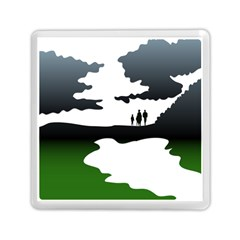 Landscape Silhouette Clipart Kid Abstract Family Natural Green White Memory Card Reader (square)  by Mariart