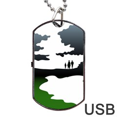 Landscape Silhouette Clipart Kid Abstract Family Natural Green White Dog Tag Usb Flash (one Side) by Mariart