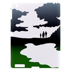 Landscape Silhouette Clipart Kid Abstract Family Natural Green White Apple Ipad 3/4 Hardshell Case by Mariart
