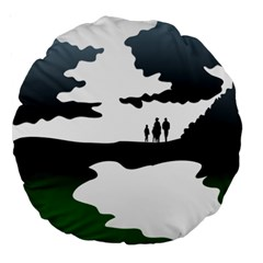 Landscape Silhouette Clipart Kid Abstract Family Natural Green White Large 18  Premium Round Cushions by Mariart