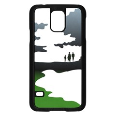 Landscape Silhouette Clipart Kid Abstract Family Natural Green White Samsung Galaxy S5 Case (black) by Mariart