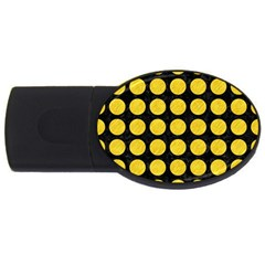 Circles1 Black Marble & Yellow Colored Pencil (r) Usb Flash Drive Oval (2 Gb)