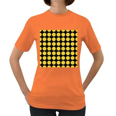 Circles1 Black Marble & Yellow Colored Pencil (r) Women s Dark T Shirt