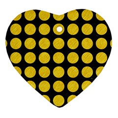 Circles1 Black Marble & Yellow Colored Pencil (r) Heart Ornament (two Sides) by trendistuff