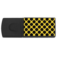 Circles2 Black Marble & Yellow Colored Pencil Rectangular Usb Flash Drive by trendistuff