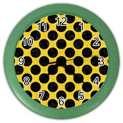 Circles2 Black Marble & Yellow Colored Pencil Color Wall Clocks by trendistuff