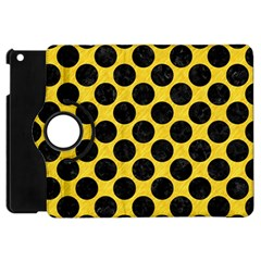 Circles2 Black Marble & Yellow Colored Pencil Apple Ipad Mini Flip 360 Case by trendistuff
