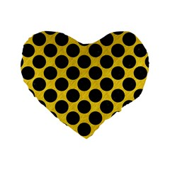 Circles2 Black Marble & Yellow Colored Pencil Standard 16  Premium Heart Shape Cushions by trendistuff