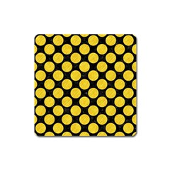 Circles2 Black Marble & Yellow Colored Pencil (r) Square Magnet