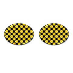 Circles2 Black Marble & Yellow Colored Pencil (r) Cufflinks (oval) by trendistuff