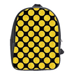 Circles2 Black Marble & Yellow Colored Pencil (r) School Bag (large) by trendistuff
