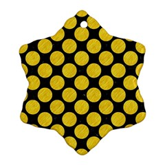 Circles2 Black Marble & Yellow Colored Pencil (r) Ornament (snowflake) by trendistuff