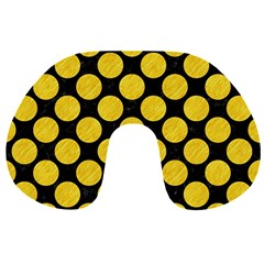 Circles2 Black Marble & Yellow Colored Pencil (r) Travel Neck Pillows by trendistuff