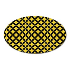 Circles3 Black Marble & Yellow Colored Pencil Oval Magnet by trendistuff