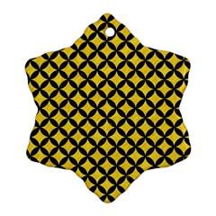 Circles3 Black Marble & Yellow Colored Pencil Ornament (snowflake)