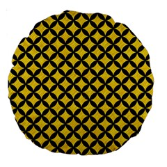 Circles3 Black Marble & Yellow Colored Pencil Large 18  Premium Round Cushions by trendistuff