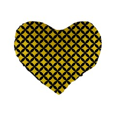 Circles3 Black Marble & Yellow Colored Pencil Standard 16  Premium Heart Shape Cushions by trendistuff