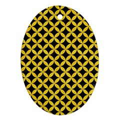 Circles3 Black Marble & Yellow Colored Pencil (r) Oval Ornament (two Sides) by trendistuff