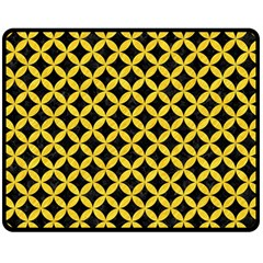 Circles3 Black Marble & Yellow Colored Pencil (r) Double Sided Fleece Blanket (medium)  by trendistuff