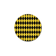 Diamond1 Black Marble & Yellow Colored Pencil Golf Ball Marker by trendistuff