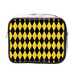 Diamond1 Black Marble & Yellow Colored Pencil Mini Toiletries Bags by trendistuff