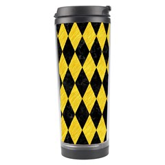 Diamond1 Black Marble & Yellow Colored Pencil Travel Tumbler by trendistuff