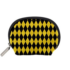 Diamond1 Black Marble & Yellow Colored Pencil Accessory Pouches (small)  by trendistuff